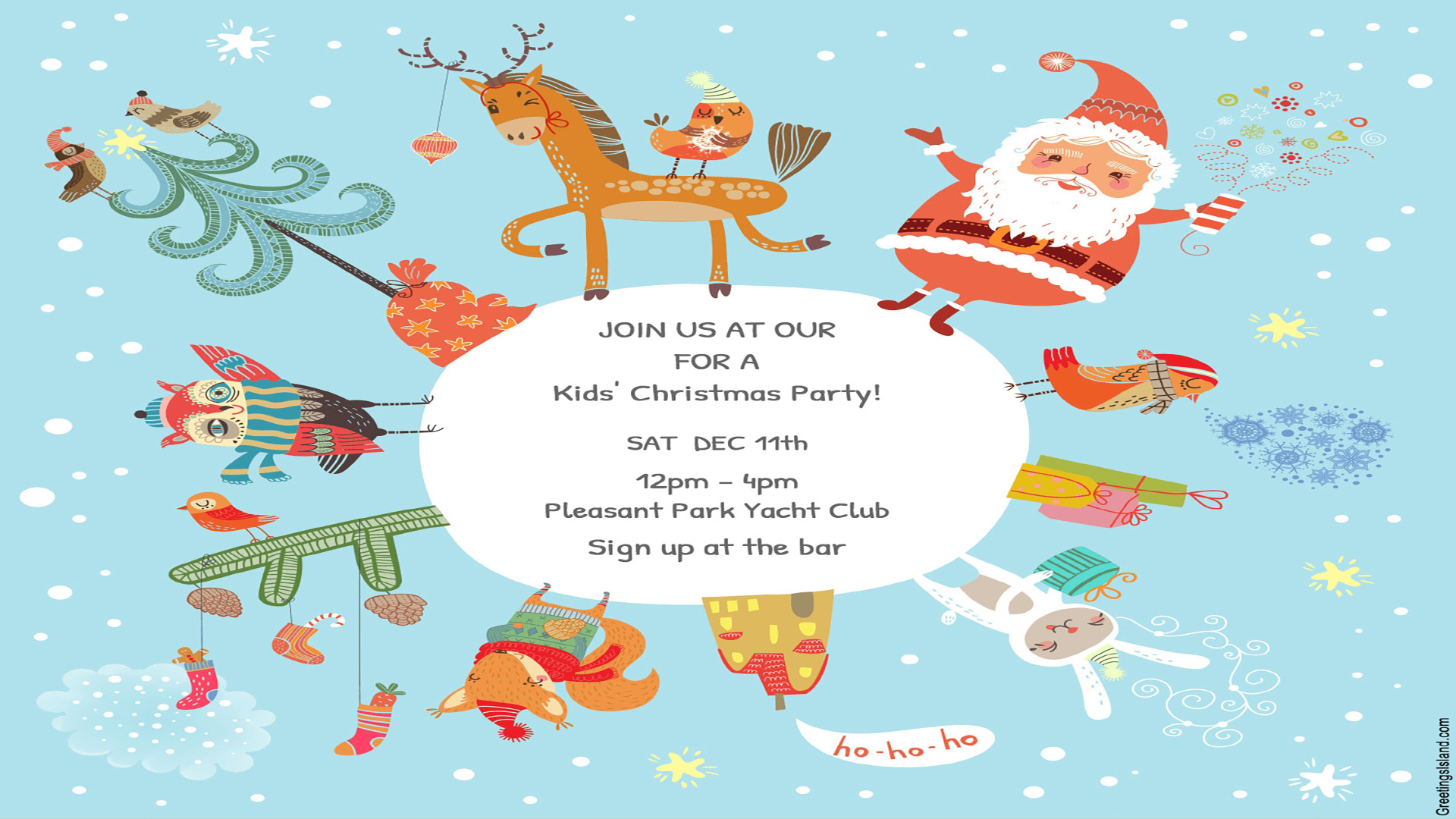 Kids Christmas Party Dec 11th Pleasant Park Yacht Club